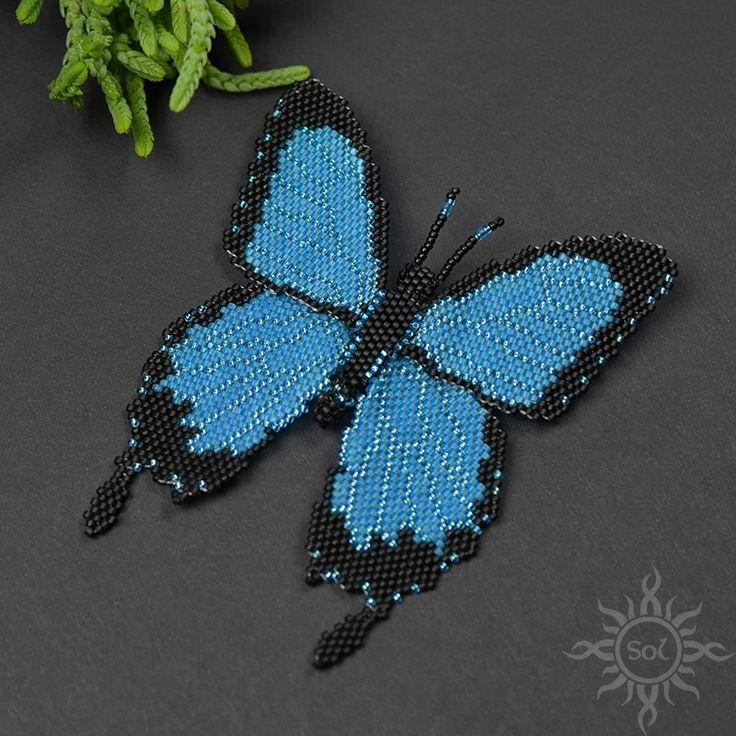 Anna Nieśpiałowska, Sol. Beadwoven butterfly brooch. http://polandhandmade.pl/kategorie/beading/niespialowska-anna-sol/  #butterflybrooch #butterflyjewelry #statementbrooch #insectjewelry #natureinspired #bluebutterfly