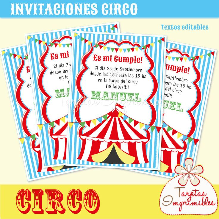 Inviti di circo per stampare con testo editabile, pdf di TarjetasImprimibles su Etsy https://www.etsy.com/it/listing/225339593/inviti-di-circo-per-stampare-con-testo