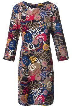 Chique jurk met allover bloemen print Antraciet