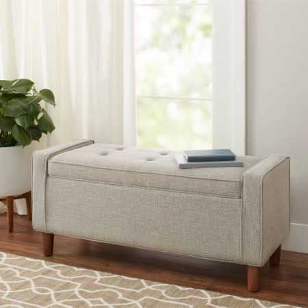 Free Shipping. Buy Better Homes and Gardens Flynn Mid Century Modern Upholstered Storage Bench, Ash at Walmart.com