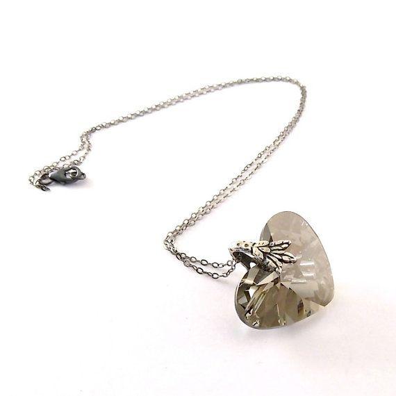 Wedding Necklace Black Diamond Heart Necklace by CinLynnBoutique