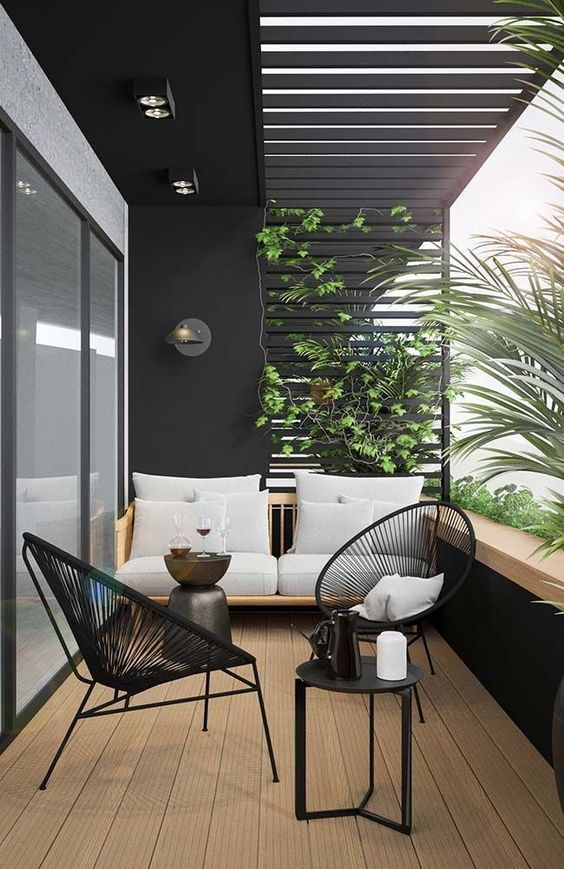 Apartment Balcony Design for Small Spaces - balcony Garden - Balcony Furniture Design Small Balcony Design, Small Balcony Decor, Small Terrace, Terrace Design, Balcony Ideas, Balcony Decoration, Modern Balcony, Outdoor Balcony, Balcony Chairs