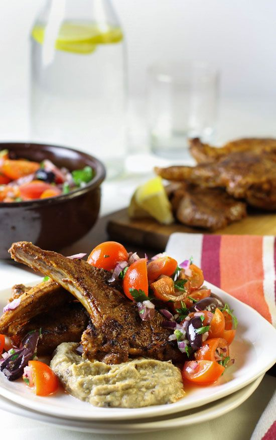 Marinated Lamb Cutlet Recipe with Eggplant Puree & Tomato Olive Salad | Eat Drink Paleo