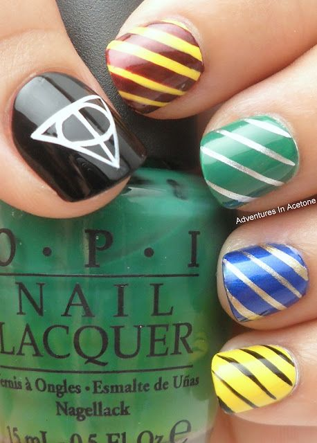 Harry Potter Hogwarts House color nails! // We all have too much time on our hands… literally, but I'm a sucker for wizard crap.
