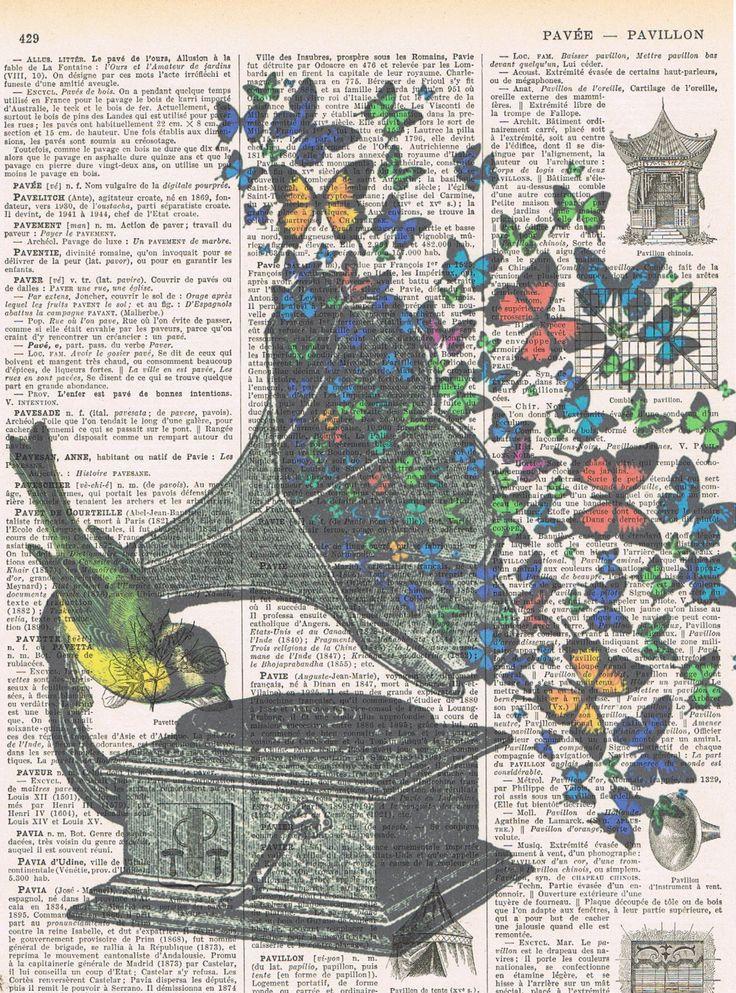 Butterflies.Bird.Music.Gramophone.Collage