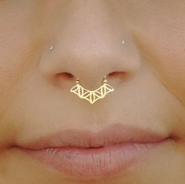 Gold Septum Ring For Pierced Nose Flower Of Life Sacred by Sagia $28