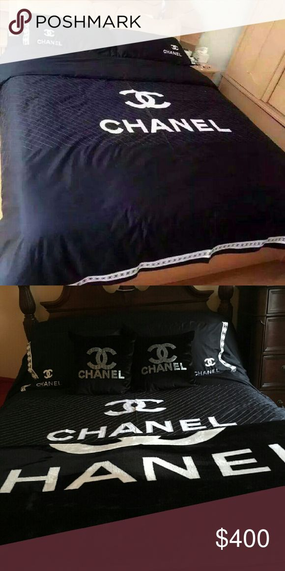 NEWCoco Designer bedding set BRAND NEW SET! Images are of my customers and my bedrooms. Signature black and white chanel bedding set includes Duvet cover , 2pillow shams, bedskirt, sheets (everything included except my 2 bling pillows and my throw across the bottom ) CHANEL Accessories