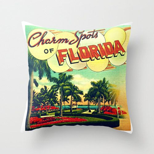 Florida Pillow | Charm Spots of Florida Pillow Cover | Beach Lover | Gifts For Her Throw Pillow | Art Deco FLORIDA | Decorative Home Decor
