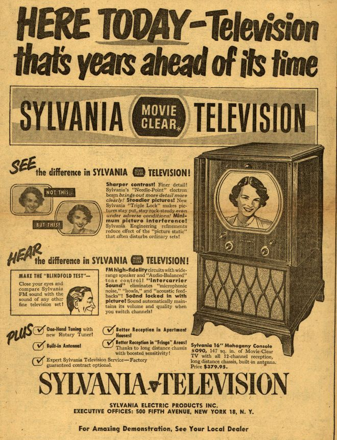 Sylvania Movie Clear Television - Years ahead of it's time (1950's)