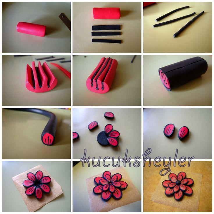 ♥ polímero / arcilla fimo, resinas y construcción tarjeta funciona ♥: fimodan roja flor collar
