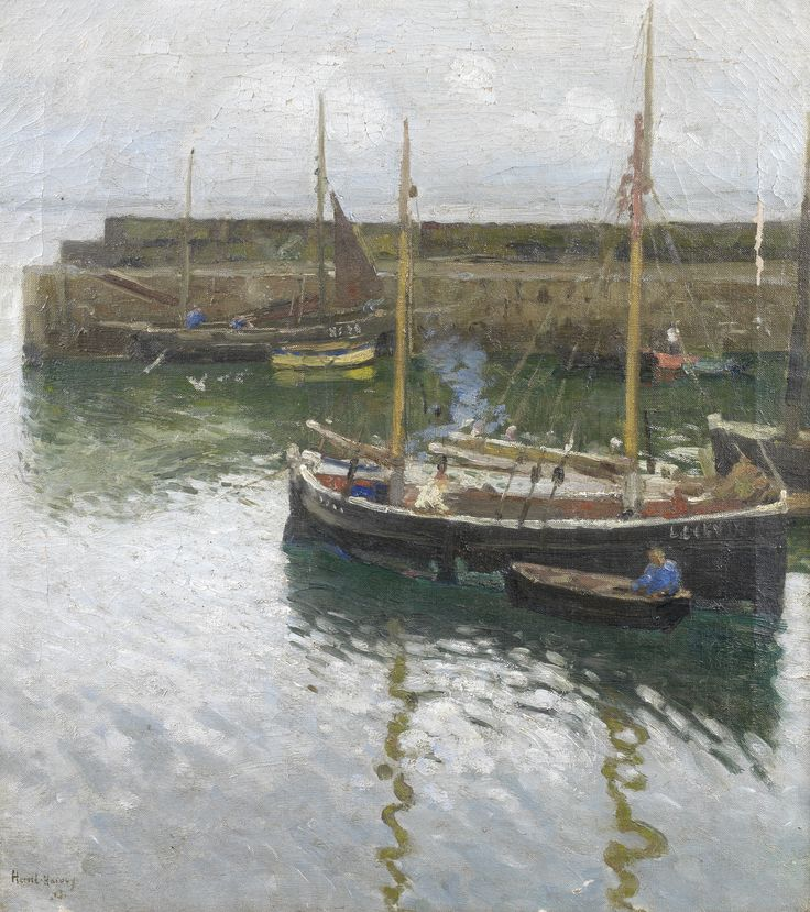 Harold Harvey (British, 1874-1941), 'Boats at Newlyn Harbour',  signed and indistinctly dated 'Harold Harvey/13' (lower left), oil on canvas, 51 x 46cm (20 1/16 x 18 1/8in).