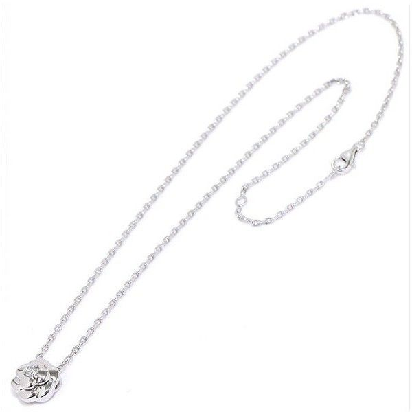 Pre-owned Chanel Camelia 18K White Gold 750 Diamond Necklace ($1,490) ❤ liked on Polyvore featuring jewelry, necklaces, white gold diamond necklace, diamond charm necklace, chain necklace, thick chain necklace and 18k white gold necklace