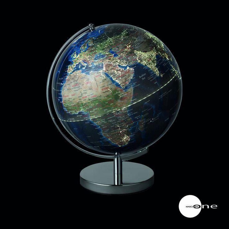 Mappamondo colori Terra, illuminato con Usb