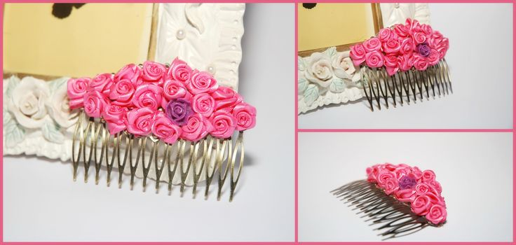 pink roses hair piece