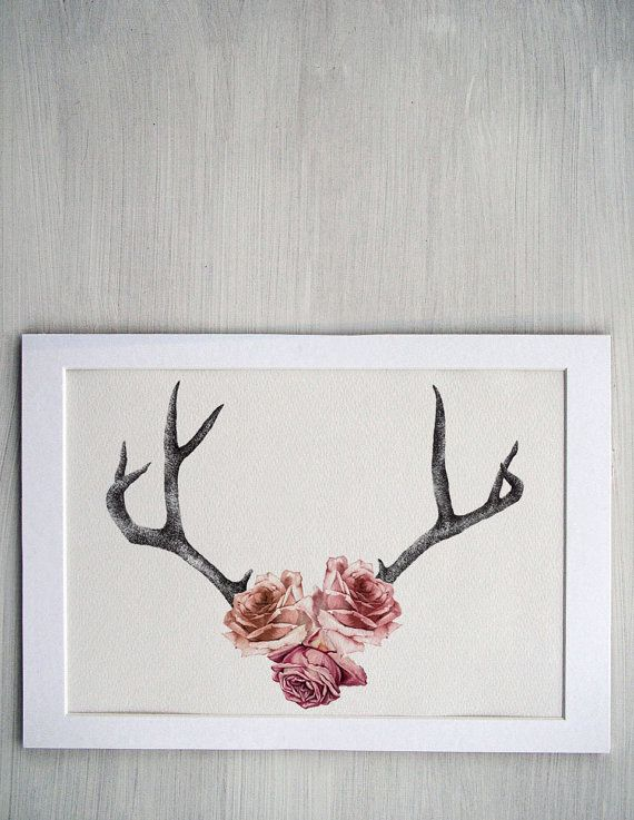Floral Antler Tattoo: Floral Rose Antler Illustration -- Contemporary Floral