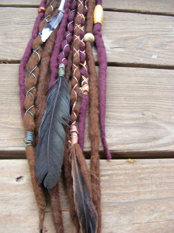 10 SE Tribal Hippie Wool Dreads Dreadlock extensions, with feathers, vintage wood beads & hemp wraps.