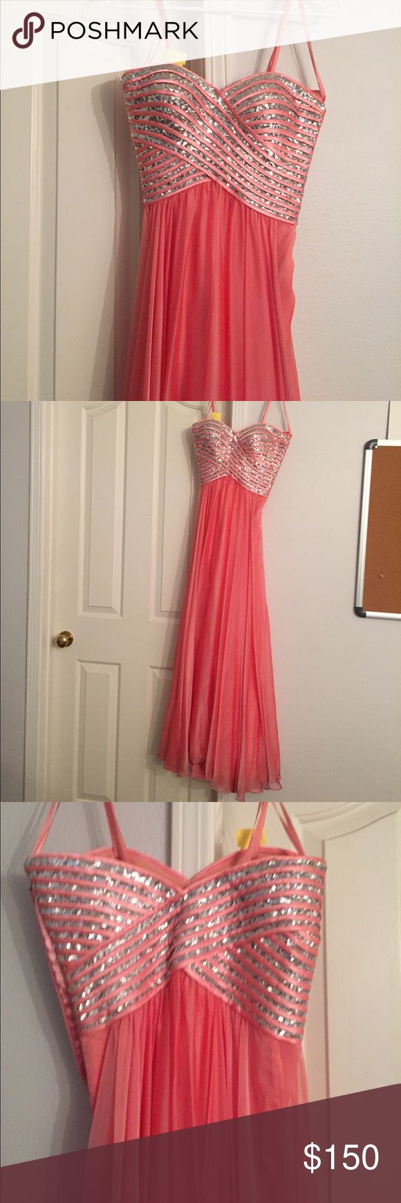 Dress Beatutiful Sequined melon strapless gown. A few snags on the overlay. La Femme Dresses Prom
