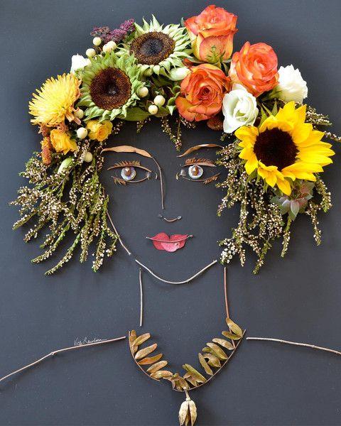 """Autumn"" Flower Face Print"