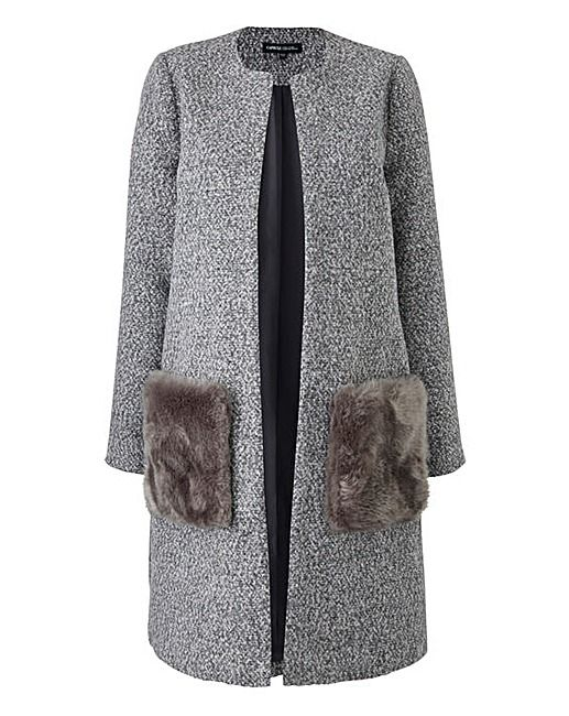 Collarless Faux Fur Pocket Coat | J D Williams
