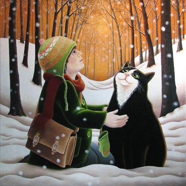 Christmas Cards UK: Cat and Girl by Vicky Mount. Snowy Scene- Art Cove