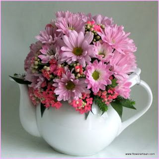 Artistry in Bloom's Blog: May 2012 - teapot floral arrangement