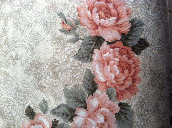 Pair of Pink rose and paisley Curtains, Drapes, gold paisley/Curtain Panels/Window Treatments/Shabby Chic