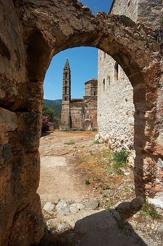 View of Church of Agios Spyridon, within Kardamyli Old Town, Peloponnese, Greece.  Photo © Chris Conway.