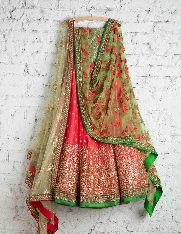 Red green lehenga is an eternal combination. Swati Manish Lehenga. #Frugal2Fab