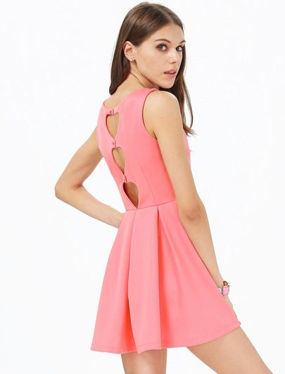 Pink Sleeveless Back Hollow Pleated Dress