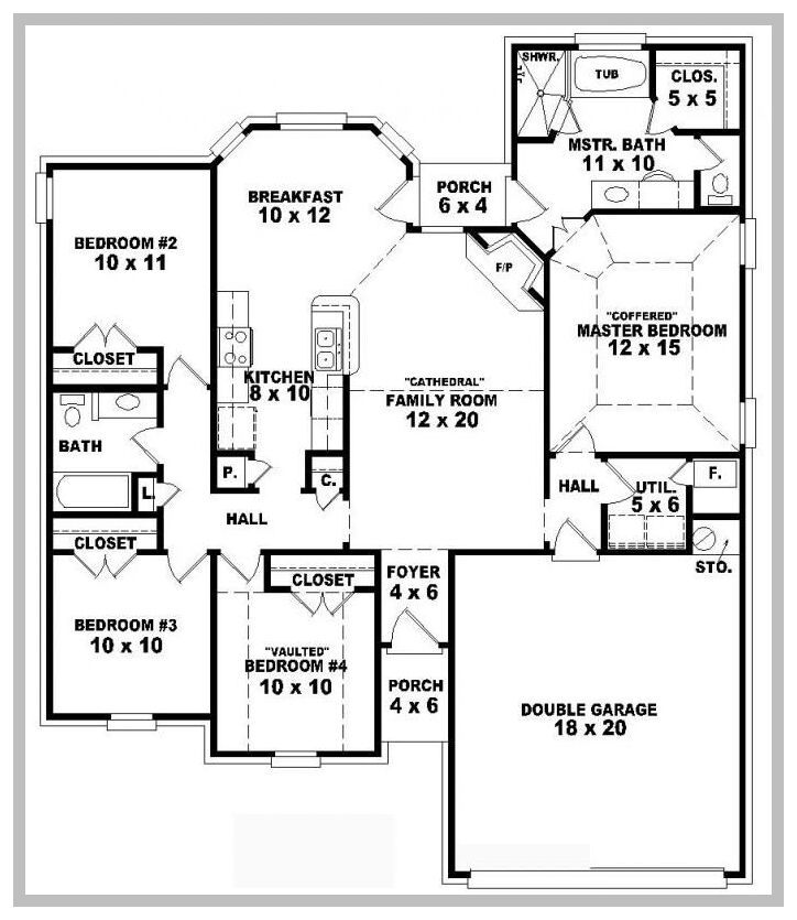 111 Reference Of Floor Plans 4 Bedroom 4 Bath In 2020 One Level House Plans Floor Plan 4 Bedroom House Plans One Story