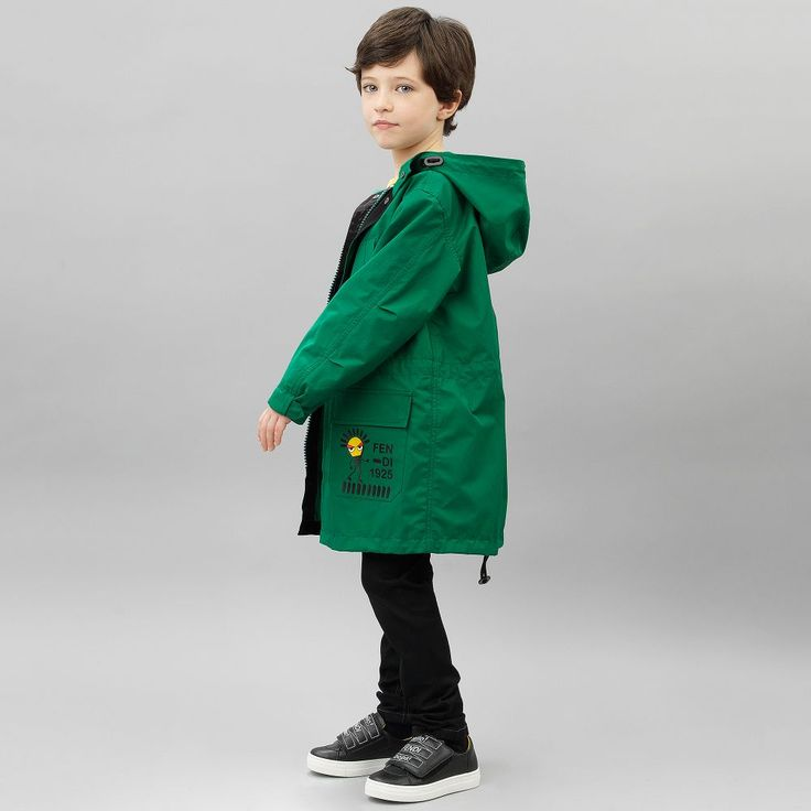 Fendi Boys green parka coat with hood available @Childrensalon