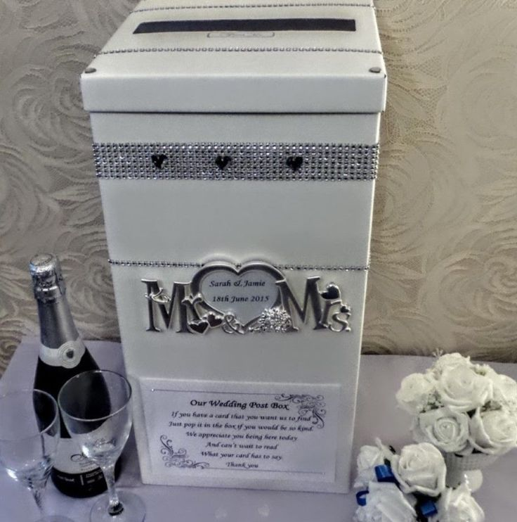 Wedding card post box personalised silver Mr & Mrs hearts diamante bling