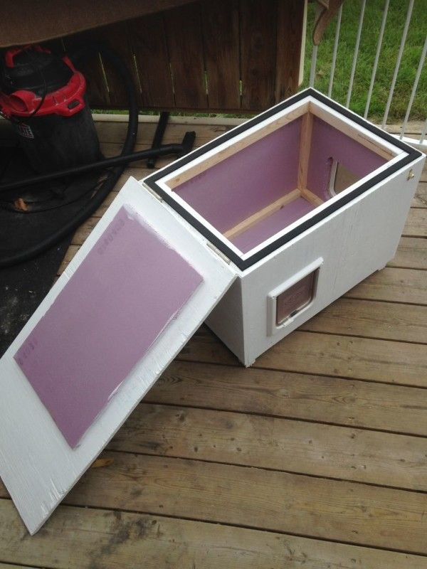An outdoor kitty shelter - it has two cat doors - insulated too.  They say to add straw not hay as hay can com-bust.