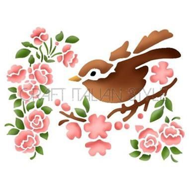 Pochoir D 20x15 cm Fleurs et oiseau