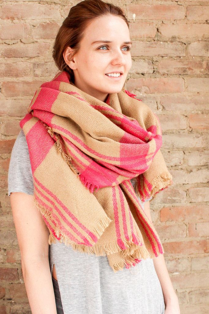 Check Blanket Scarf - Pink | Glamour and Glow #blanketscarf #plaidscarf