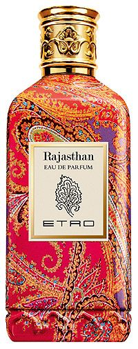 Rajasthan perfume by Etro opens with luminous accords of lemon combined with elegant Damascus rose and its powerful sweetness. A gentle note in top notes is provided by yellow mimosa. The heart accentuates floral notes of acacia spiced with pink pepper and warmed with a blend of amber, labdanum and white musk enriching the base.