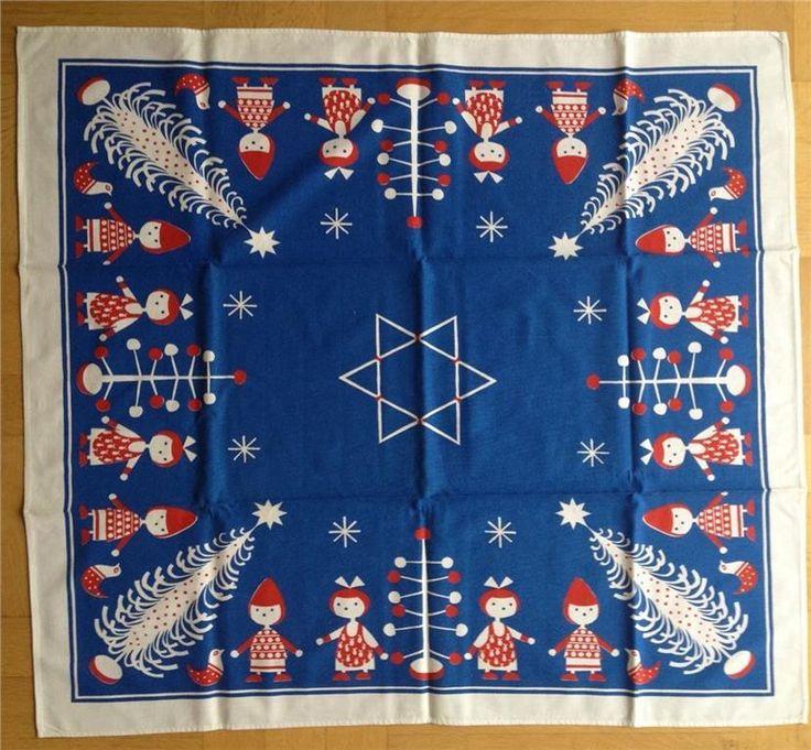 Söt julduk i blått och rött retro jul på Tradera.com - Textil | Julsaker