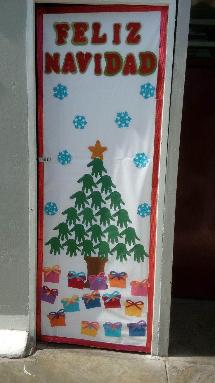 Decoración de puerta del salón de inicial 2 años … #Feliznavidad #manualidades