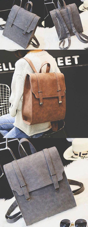 Retro Matte Square PU Metal Lock Match Large Scrub College Backpack for big sale! #square #pu #backpack #Bag #matte #lock #match