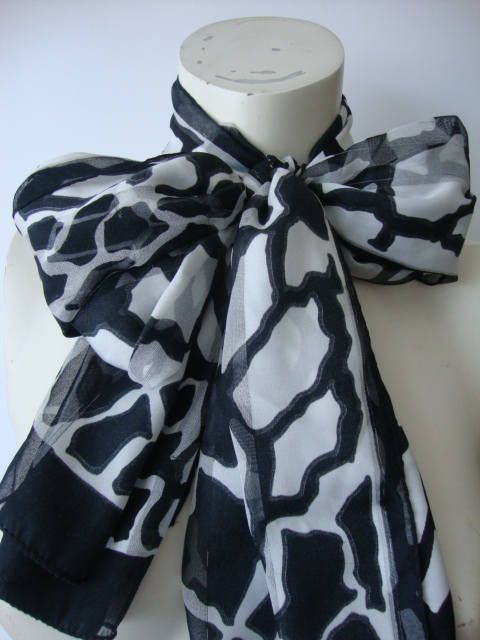 Giraffe print oblong scarf black white scarf womens silk scarf vintage chiffon flowers sheer scarf absract floral art by Janglesdesigns on Etsy