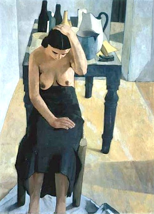 Felice Casorati (Italy, 1886-1963), Donna vicino al tavolo, oil/canvas, 1936. Sold at auction, see http://www.artnet.com/artists/felice-casorati/donna-vicino-al-tavolo-bS7AdcMfMWnTXg_hh5GNTA2