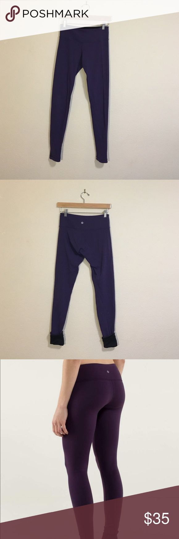 Lululemon dark purple reversible wunder unders Lightly worn dark purple lululemon reversible wunder unders.  The reverse color is black.  These are the thicker wunder unders so they are perfect for the colder weather.  There is very minimal pilling.  Good condition. lululemon athletica Pants