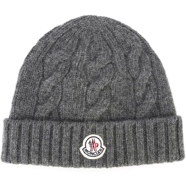 Moncler cable knit beanie (199 CAD) ❤ liked on Polyvore featuring men's fashion, men's accessories, men's hats, grey, mens beanie hats, mens cable knit hat, mens cable knit beanie hats and mens wool hats