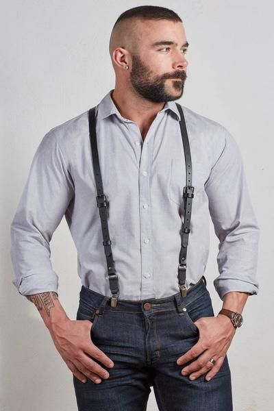 Leather Suspenders for Men, Classic Look for Men #suspenders #gq #fashion