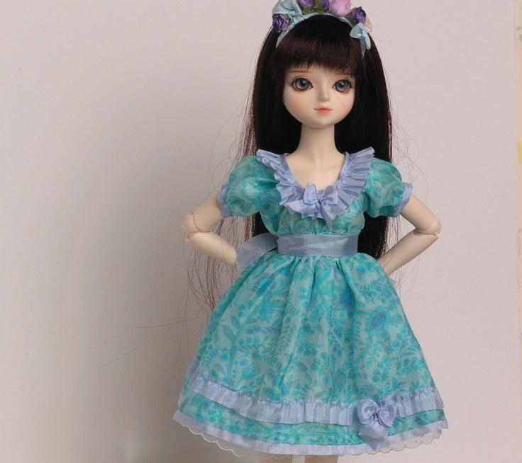 Aqua Silk BJD Dress with Flower Headband