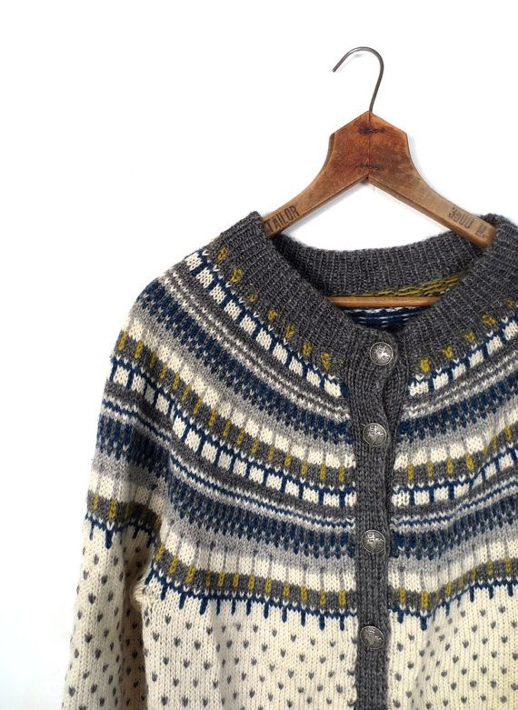 Fair Isle Cardigan / Vintage Nordic Sweater / by SmallEarthVintage