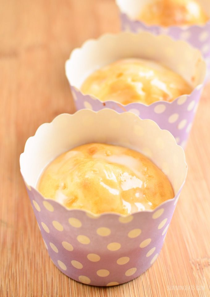 Slimming Eats Lemon Drizzle Muffins - vegetarian, Slimming World and Weight Watchers friendly
