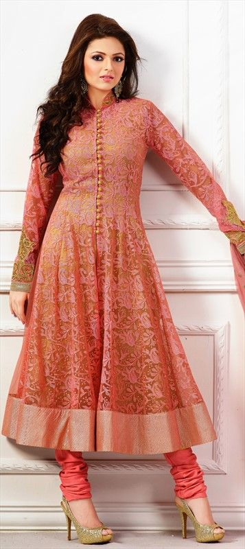 419310: Pink and Majenta color family stitched Anarkali Suits.