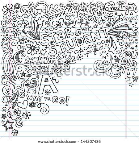Straight A Star Student Scribble Inky Doodles- Back to School Notebook Doodle Design Elements on Lined Sketchbook Paper  Illustration