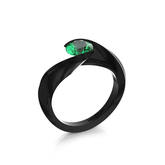Decorum 14K Black Gold 1.0 Ct Emerald Nature by DecorumRings
